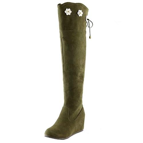 AIYOUMEI Damen Keilabsatz Overknee Stiefel mit Schnürsenkel