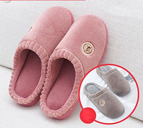 LIGUQI@ Pantoufles de Coton Hiver Maison Maison Intérieure Couple Épais Moitié avec une Pantoufle Chaud Pantoufles Hommes,Fense,44/45