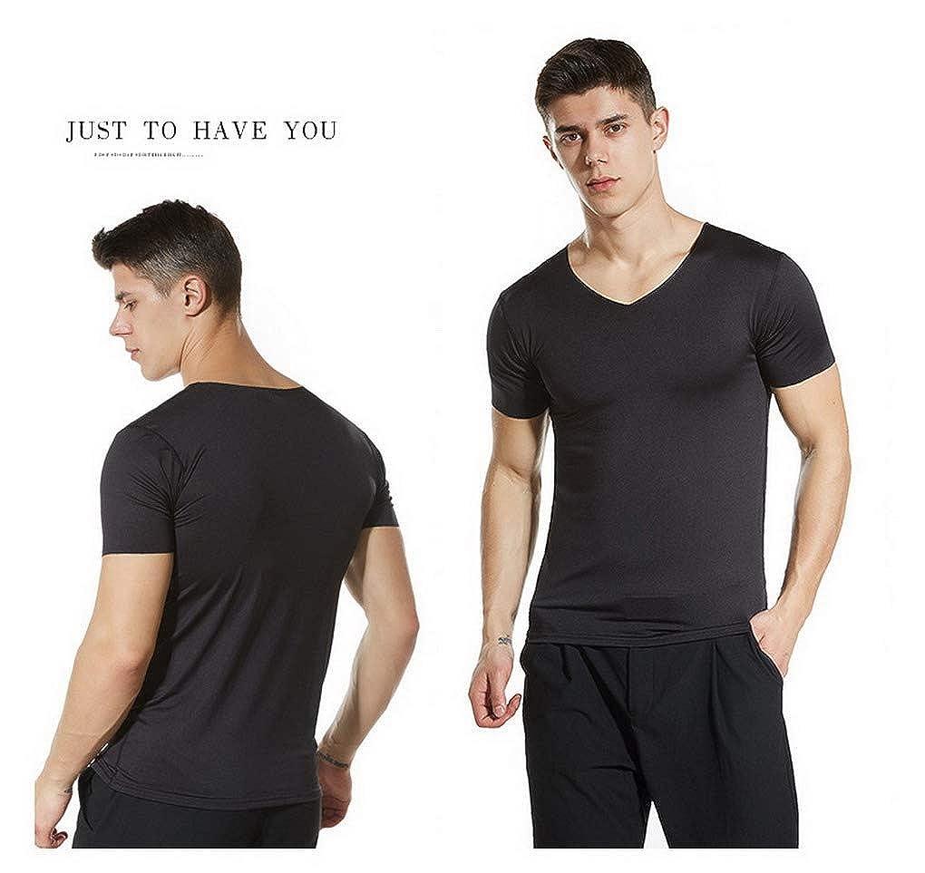 ACMEDE Mens Force Comfort Soft Short Sleeve V-Neck T-Shirt Solid Color Seamless T-Shirt Slim Fit S-3XL