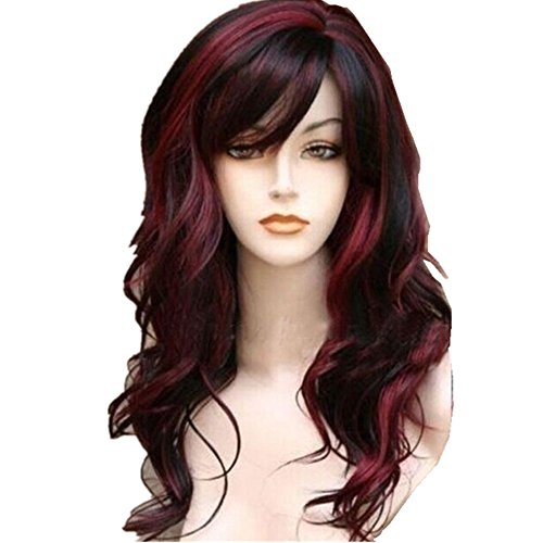 Hair Long Wigs Wavy Curly 24 Inches Glamorous Women Black Red Highlights Cosplay Wig (Black - Red) (Red And Black Wigs)