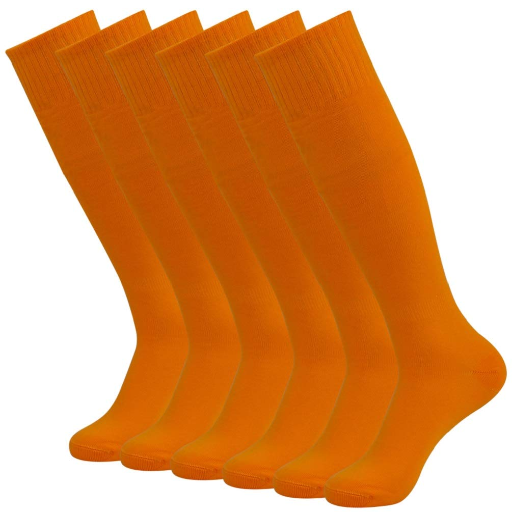 Colored Football Team Socks, Funcat Mens Youth Classic Summer Quick Dry Breathable Elastic Cheering Uniform Volleyball Baseball Knee High Long Socks 6 Pairs Orange by Funcat