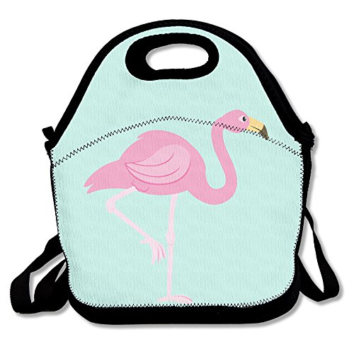Pink Clipart - Pink Flamingo Clip Art Insulated Lunch Bag - Neoprene Lunch Bag - Large Reusable Lunch Tote Bags For Women, Teens, Girls, Kids, Baby, Adults Portable Carry