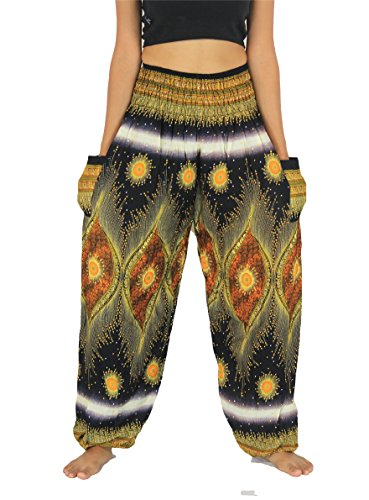 NaLuck Women's Boho Hippie Peacock Jumpsuit Rayon Smocked Waist Yoga Aladdin Harem Pants PJ04-BlackYellow