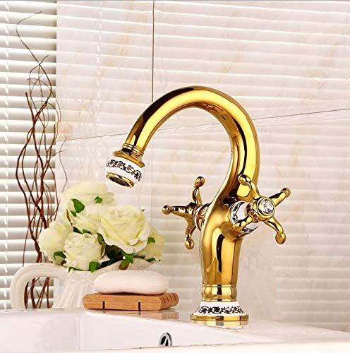 European-style golden basin faucet retro washbasin cold and hot water faucet bathroom double blue and white porcelain faucet