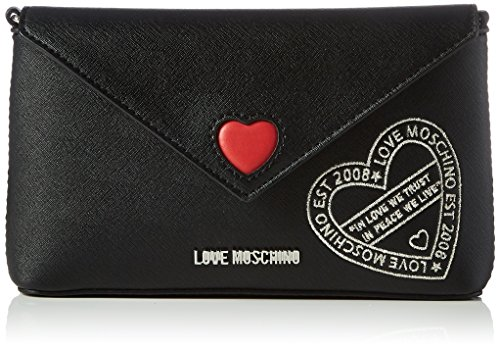 Love Moschino - Borsa Saffiano Pu Nero, Carteras de mano Mujer, Schwarz (Black), 12x24x4 cm (W x H D)
