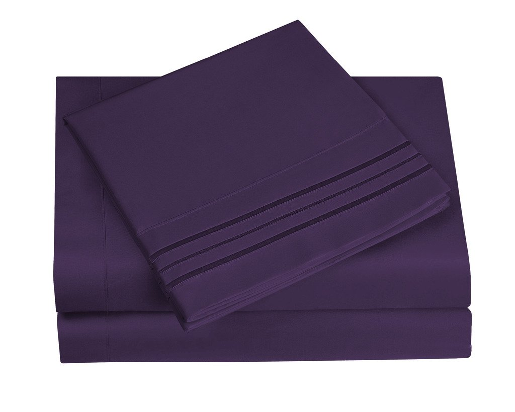 King Size, Eggplant HC Collection 1500 Thread Count Egyptian Quality 2pc Set of Pillowcases