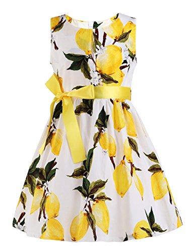 (Girls Dresses Lemon Print Dress for Girls,Yellow Lemon 2,7-8 Years(Size)