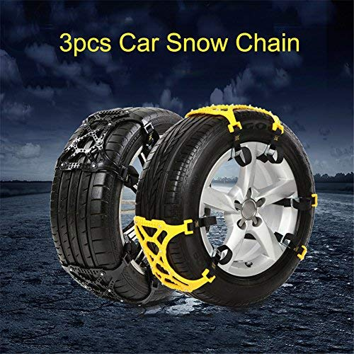 Cheng-store Car Tire Chain 3 PCS/Pack Universal Thickened TPU Car Tire Anti-skid Chain Emergency Tire Anti-skid Belt For Winter Snow Road (Yellow) by Cheng-store (Image #1)