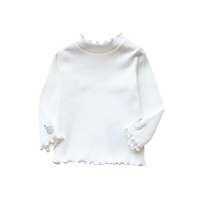 ESHOO Little Girls Long Sleeve Basic Shirt Cotton Knit Pullover Tops:  Amazon.co.uk: Clothing