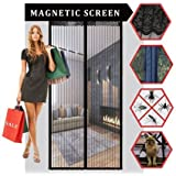 """Magnetic Screen Door,Sell4Style Mesh Curtain - Mosquito Net Fits Doors up to 40""""x83"""" Keep Bugs Out,Black Color"""