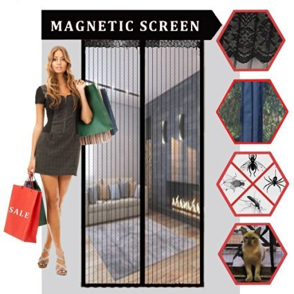 Magnetic Screen Door, Sell4Style Mesh Curtain - Mosquito Net Fits Doors up to 40x83 Keep Bugs Out, Black Color C-502