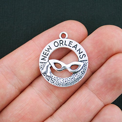 (6 New Orleans Charms Antique Silver Tone - SC3812 Jewelry Making Supply Pendant Bracelet DIY Crafting by Wholesale Charms)
