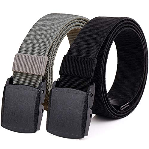 Hoanan 2-Pack Elastic Stretch Belt, Men's Plus Size No Metal Nylon Tactical Hiking Belt(black/grey-up to 50