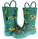 Foxfire for Kids Green Constuction Heavy Equipment Rubber Boots Size 13
