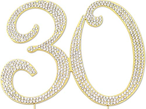 (Sparkly Rhinestones Number 30 Cake Topper, Birthday Wedding Anniversary Gold Number 30)