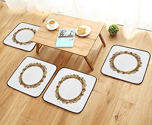 UHOO2018 Fillet Chair Cushion gen Vintage Frame Antique Mirror Design Retro Element Suitable for The Chair W13.5 x L13.5/4PCS Set by UHOO2018