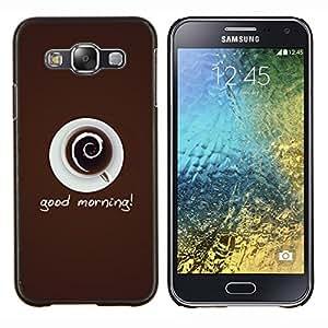 KLONGSHOP // Cubierta de piel con cierre a presión Shell trasero duro de goma Protección Caso - Buen Café de la mañana - Samsung Galaxy E5 E500 //