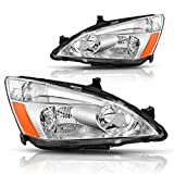 AUTOSAVER88 For 03 04 05 06 07 Honda Accord Headlight Assembly OE Headlamp Replacement, Chrome Housing Clear Lens, One-Year Limited Warranty(Pair,HO2502120&HO2503120)