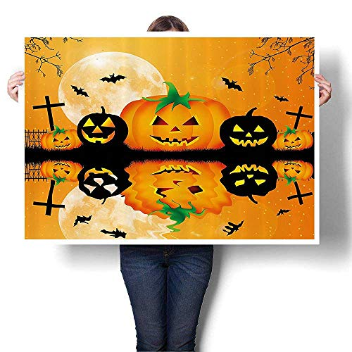 Canvas Wall Art Spooky Carved Halloween Pumpkin Full