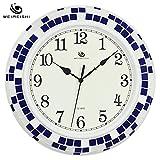 Jedfild Modern minimalist living room mute wall clock creative personality mediterranean decor clock, Blue