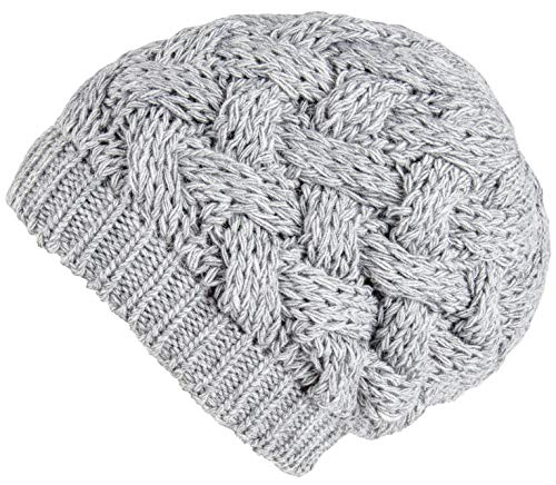 Womens Cap Thanksgiving - Lilax Cable Knit Slouchy Chunky Oversized Soft Warm Winter Beanie Hat Light Gray