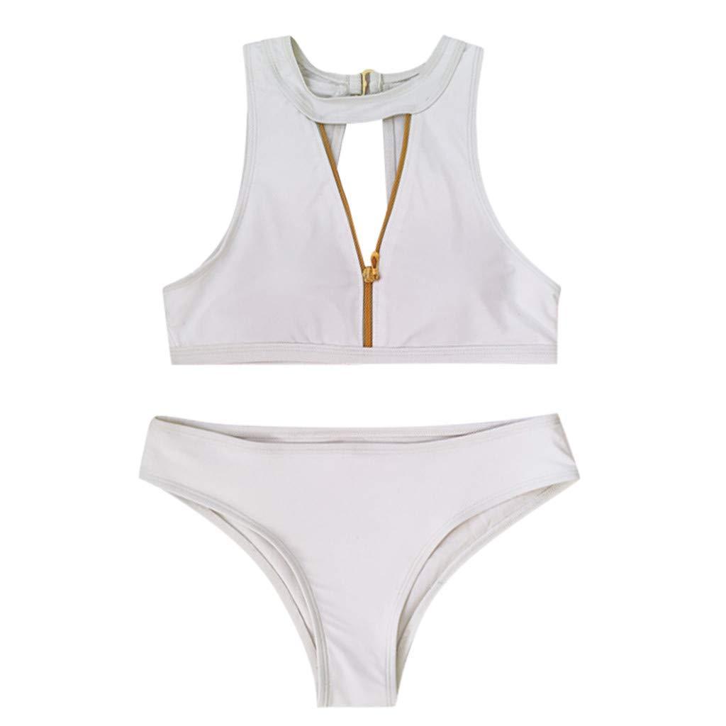 aiNMkm Beachwear for Women,Women Solid Zippe Two Pieces Bikini Push-Up Padded Swimsuit Bathing Suit,White,L