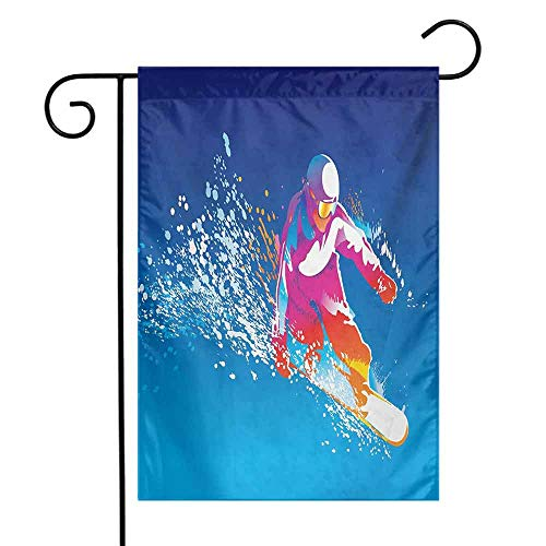 (seedine Outdoor Flag Farmhouse Lawn Youth Colorful Figure of a Young Man Snowboarding on Blue Background with Paint Splashes 12.5 x 18 Inch Multicolor)