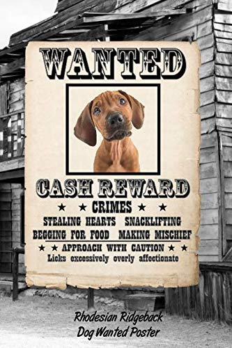 Rhodesian Ridgeback Dog Wanted Poster: Beer Tasting Journal Rate and Record Your Favorite Beers Collect Beer Name, Brewer, Origin, Date, Sampled, ... meter, Note and Flavor wheel 120 pages 6