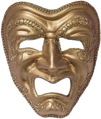 Amazon.com: Forum Tragedy Mask, Gold, One Size: Clothing