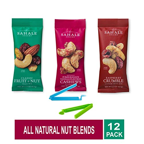 Sahale Snacks All Natural Nut Blends Grab And Go Variety of 3 Flavors (Raspberry Crumble, Classic Fruit + Nut, Pomegranate Vanilla ) Pack of 12 with Free Snack Clips