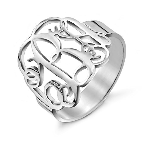 Custom Sterling Silver Fancy Script Monogram Ring, ring sizes 4 to 10 by EVE'S ADDICTION