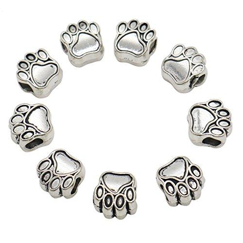 HUELE 50 Pcs Metal Bead Pet Dog Puppy Paw Print Beads for Charm Bracelet 11x11mm Silver