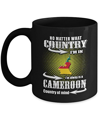 Cameroon Mug Flag Coffee Mugs Cute Gifts For Your Dad Mom Friend as Seen on T Shirt, 11 Ounce Black Ceramic Cup