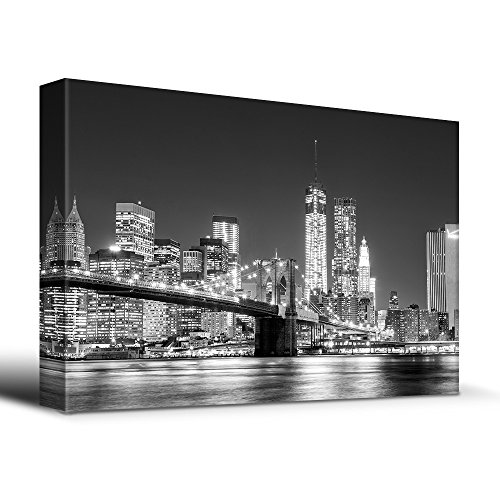 Black White Manhattan Skyline Brooklyn Bridge