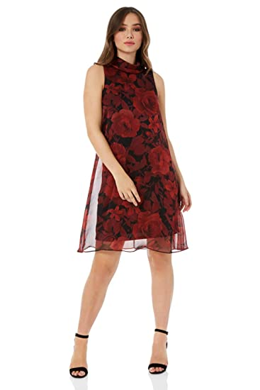 dc69337fbf769 Roman Originals Women s Floral Roll Neck A-Line Sleeveless Dress - Ladies  Fashion Dresses for Special Party Sexy Evening Dinners Dates Occasion Wear   ...