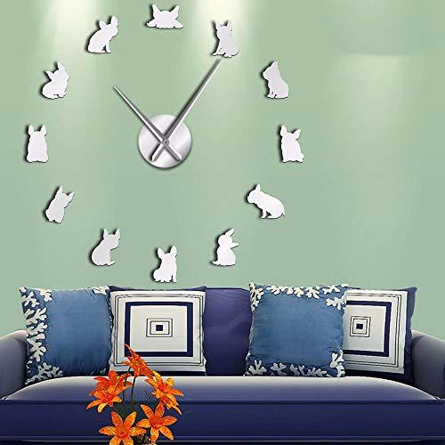 Bull Metal Mirror - LLLYZZ French Bulldog DIY Giant Wall Clock France Domestic Dog Large Modern Wall Clock Frenchie Wall Watch DOD Breeds Dog Lovers Gift 37Inch