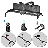 Fomito 24'' Camera Slider Dolly Track Glider System Stabilizer with CNC Machining for DSLR Video Camera-60cm