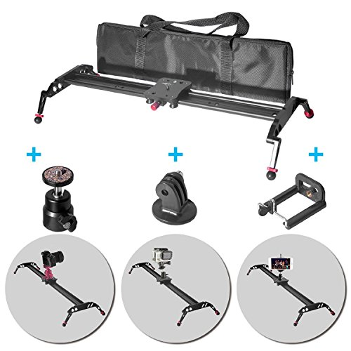 Fomito 24'' Camera Slider Dolly Track Glider System Stabilizer with CNC Machining for DSLR Video Camera-60cm by Fomito