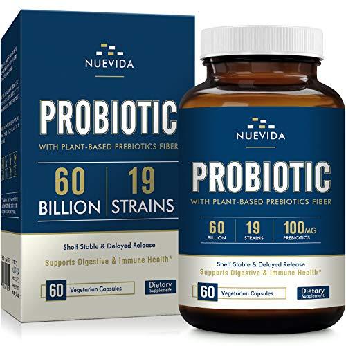 Nuevida Probiotic with Prebiotic Fiber – 60 Billion 19 Strains – Shelf Stable Delayed Release Technology – Support Digestive & Immune Health – Vegan Non-GMO Dairy Free – 60 Veggie Caps