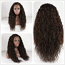Loose Curly Lace Front Wig Brown Hair Heat Resistant Fibers Synthetic Lace Front Wig Glueless Half Hand Tied For All Women 24inch (Medium Brown)