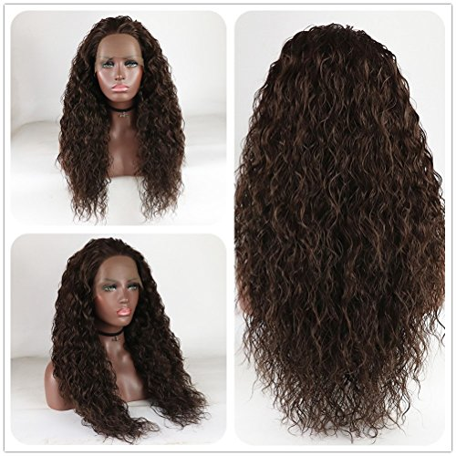 Hand Tied Synthetic Wig - Loose Curly Lace Front Wig Brown Hair Heat Resistant Fibers Synthetic Lace Front Wig Glueless Half Hand Tied For All Women 24inch (Medium Brown)