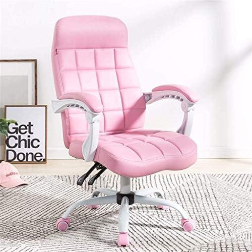 QYBAMZLD Chaise de Bureau Confortable Chaises de Bureau en Cuir puits Modernes et Simples, de Haut-par-Dossier avec accoudoirs rembourrés, Tâche pivotante Ergonomique réglable