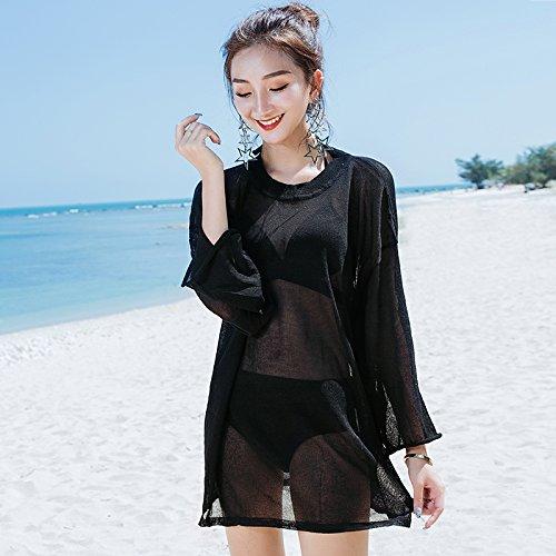 ShouYu camicia donne anteriore rivestimento White shirt massa costume Beach una bagno di sunscreen bianco dimensione mare coprire di a bikini fino resort esterno la di spiaggia spa Long da parte 4q4w6I5rx