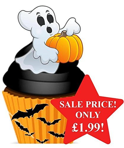 (Halloween Casper the Ghost Orange & Black Design - Fun Novelty PREMIUM STAND UP Edible Wafer Paper Cake Toppers)