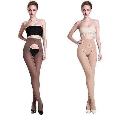 afd4877b6 Lang Sha Women s 120 Denier Tights Velvet Opaque Open Crotch Pantyhose (1  Beige+1