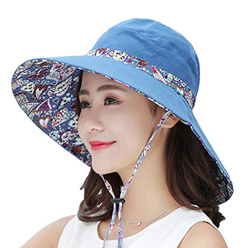 (WITERY Womens Sun Hat Summer Reversible UPF 50+ Beach Hat Foldable Wide Brim)