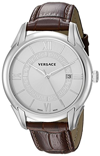 Versace-Mens-APOLLO-Swiss-Quartz-Stainless-Steel-and-Leather-Casual-Watch-ColorBrown-Model-V10020015