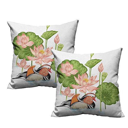 warmfamily Rubber Duck Couple Pillowcase Baby Mandarin Duckling in Pond with Lotus Lily Flowers Water Painting with Hidden Zipper W17 x L17 White Green and Pink