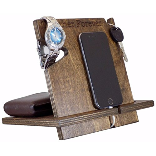 Personalized Handcrafted Wood (PERSONALIZED iPhone Docking Station, 5th Anniversary Gift For Him, Anniversary Gifts For Men Engraved, Universal Cell Phone Dock, Cell Phone Stand/Holder/Valet, Charging Station)