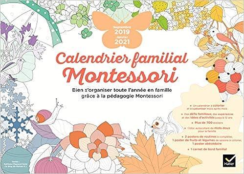 Calendrier familial Montessori septembre 2019   janvier 2021 (Vie